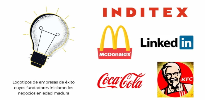 Infografía - marcas y logotipos de empresarios con éxito que iniciaron sus negocios a partir de 35 - 40 años